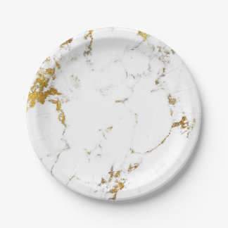 Abstract White Gold Carrara Marble Glam Stone Vip Paper Plate