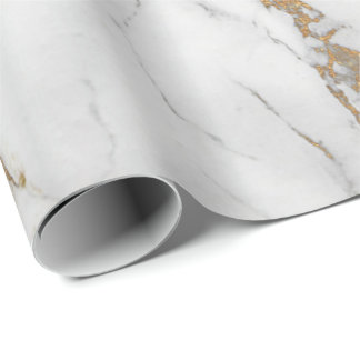 Abstract  White Gold Gray Carrara Marble Stone Wrapping Paper