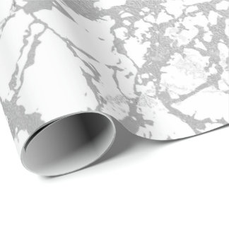 Abstract White Gray Marble Silver Carrara Shiny Wrapping Paper