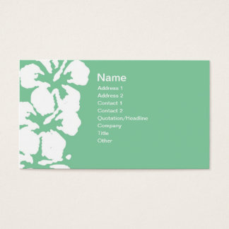 Abstract White Hibiscus Flowers on Green Business Card