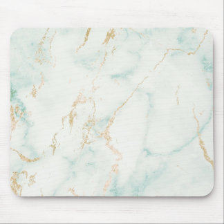 Abstract White Mint Green Gold Marble Mouse Mat