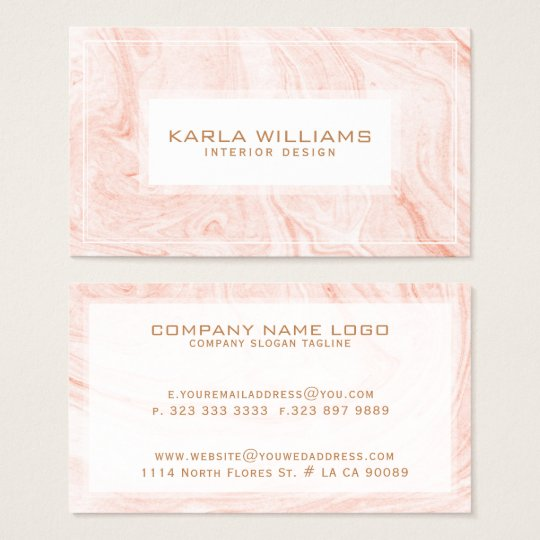 Abstract White Rose-Gold Marble Swirls Business Card