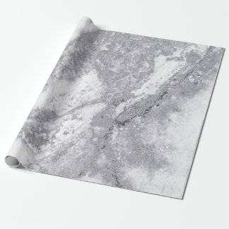 Abstract White Silver Gray Carrara Marble Stone Wrapping Paper