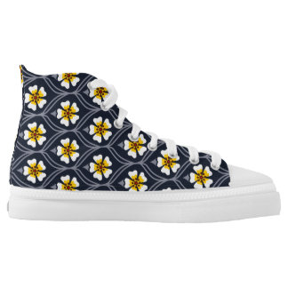 abstract white yellow flower background nature pat printed shoes