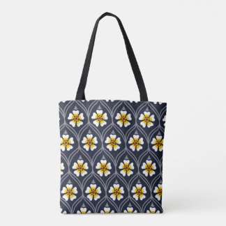 abstract white yellow flower background nature pat tote bag