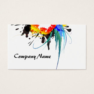 Abstract Wild Parrot Paint Splatters Business Card