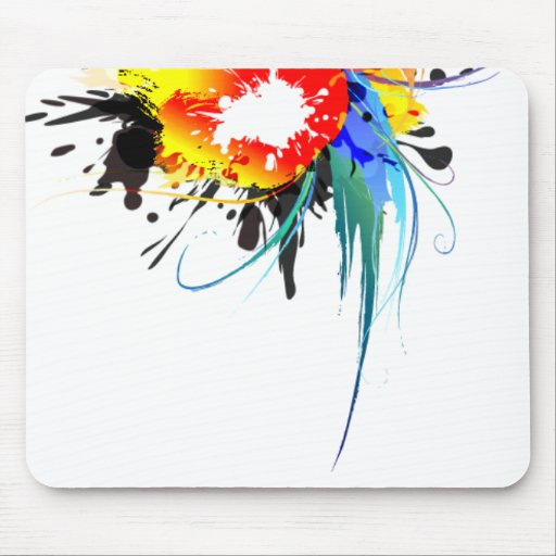 Abstract Wild Parrot Paint Splatters Mouse Pad