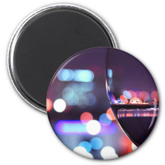 Abstract Wine Glass 6 Cm Round Magnet