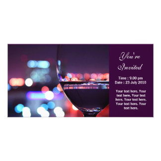 Abstract Wine Glass, You're Invited Photo Cards
