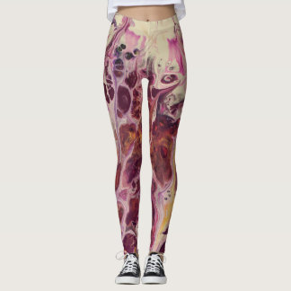 Abstract Wispy Purple & Gold Leggings