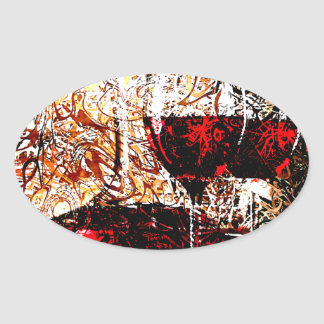 Abstract with Wine Oval Sticker