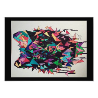 Abstract Wolf Poster Photo Print