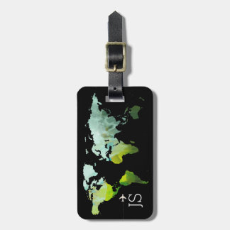 abstract world map personalized travel bag tag