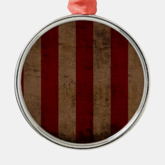 Abstract Worn American Flag Silver-Colored Round Decoration