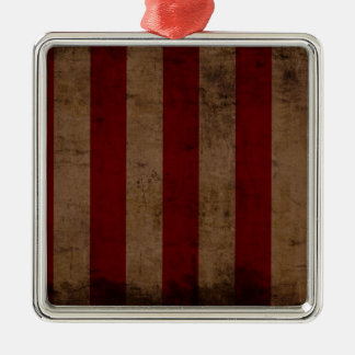 Abstract Worn American Flag Silver-Colored Square Decoration