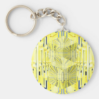 Abstract Yellow 3d Cubes Basic Round Button Key Ring