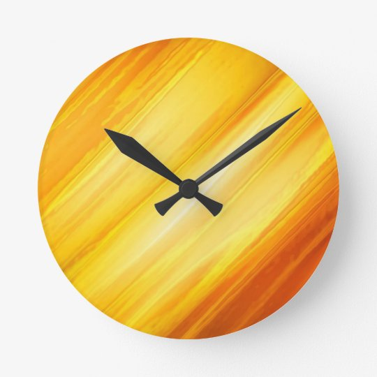 Abstract Yellow and Orange Round Clock