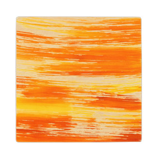 Abstract yellow background from watercolor maple wood coaster