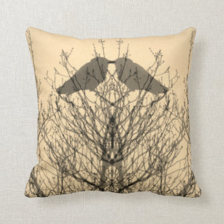 Abstract yellow grey vein modern crow bird pillow
