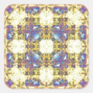 Abstract Yellow Purple Mandala Square Sticker