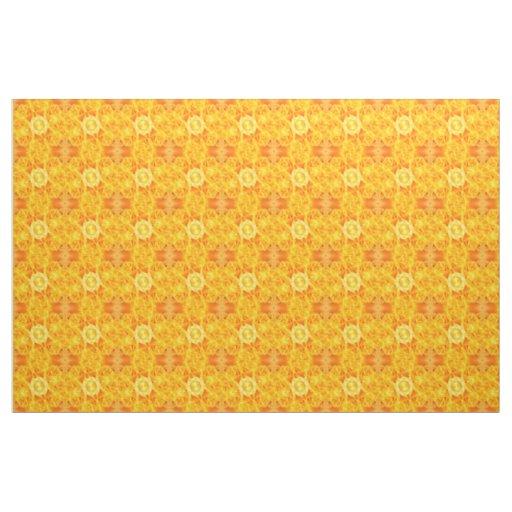 Abstract Yellow Roses Kaleidoscope Fabric