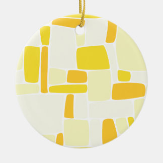 Abstract Yellow Squares Round Ceramic Decoration