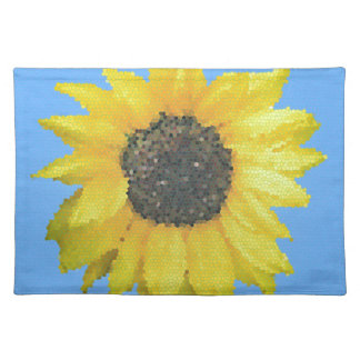 Abstract Yellow Sunflower in Stained Glass Placemat
