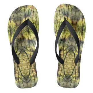 Abstract Yellow Trees Flip Flops