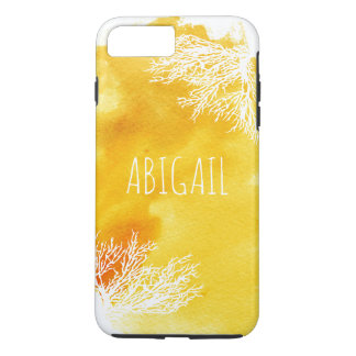 Abstract yellow watercolor splash and coral reef iPhone 7 plus case