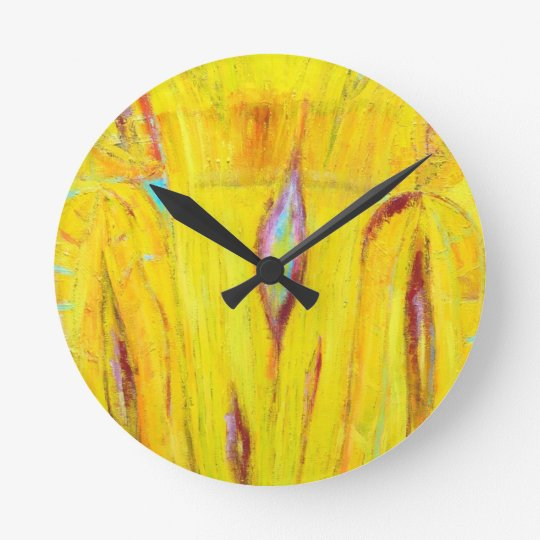 Abstract Yellow Wood Grain ( abstract painting) Round