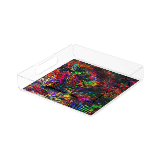Abstract Zebra Acrylic Tray