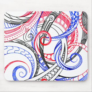 Abstract Zen Doodle Red White Blue Curls & Swirls Mouse Pad