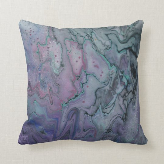 Abstract Zen Marbled Purple Teal and Black Cushion