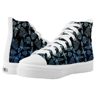 Abstract Zendoodle Plant like Blue and Black shoes Printed Shoes