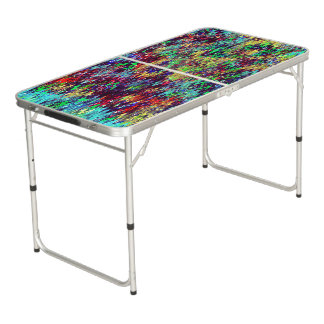 Abstract Zigzags Design Beer Pong Table