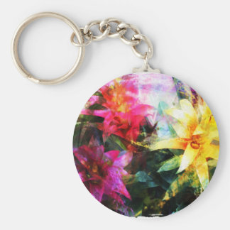 Abstracted Bromeliads Key Ring