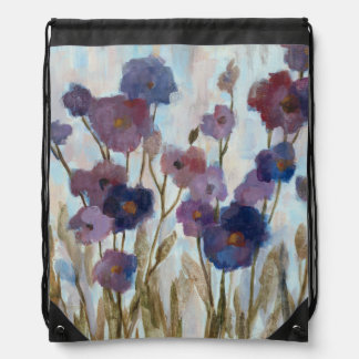 Abstracted Florals In Purple Drawstring Bag