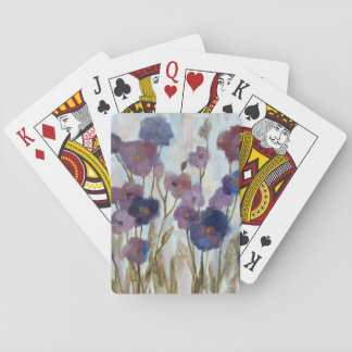 Abstracted Florals In Purple Playing Cards