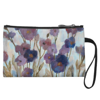 Abstracted Florals In Purple Wristlet