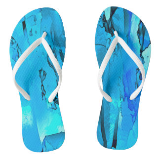 Abstracted Moods (blue) Flip Flops