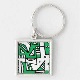 ABSTRACTHORIZ (592).jpg Silver-Colored Square Key Ring