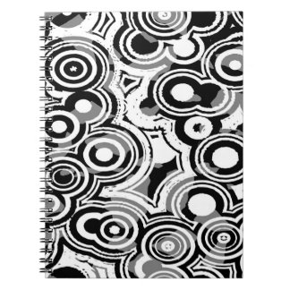 Abstraction Art Black And White Circles Spiral Note Books