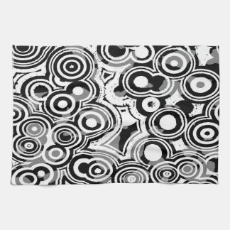 Abstraction Art Black And White Circles Tea Towel