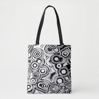 Abstraction Art Black And White Circles Tote Bag