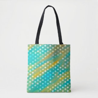 Abstraction Art Blue And Brown White Polka Dots Tote Bag