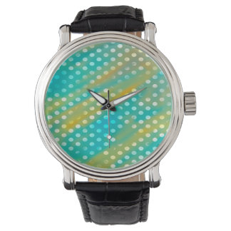 Abstraction Art Blue And Brown White Polka Dots Watch