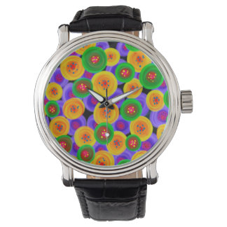 Abstraction Art Bright Yello Green And Blue Circle Wristwatches