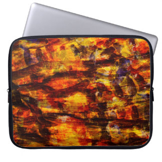 Abstraction Art Brown And Black Feathers Laptop Sleeve
