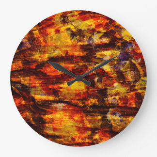 Abstraction Art Brown And Black Feathers Large Clock