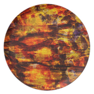 Abstraction Art Brown And Black Feathers Plate